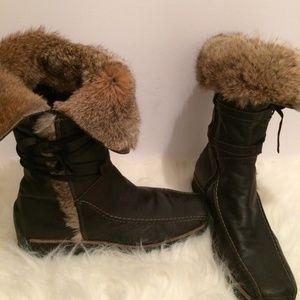 Shoes - Black Italian Leather Real Fur-Lined boots size 41